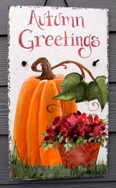 Autumn Welcome Sign   Outdoor Hand Painted Slate by DancingBrushes, $44.00