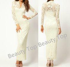Sexy Vneck Long  Prom Dress Lace Wedding Dress Aline by BeautyTop, $209.00