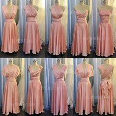 Wedding Party Dresses, Bridal Dresses, Pink Bridesmaid Dresses, Bridesmaids, Lace Evening Dresses, Formal Dresses, Mermaid Dresses, Convertible, Infinite