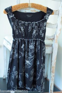 BCBG Maxazria Black Empire Waist Babydoll 100% Cotton Sleeveless Blouse (L) ebay store: hansenhouse111