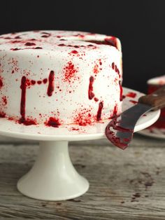 "fortheloveoffoodporn: "" Vamp Attack Halloween Cake I made a red velvet cake figuring the deep red colour is nice and vampy and perfect for Halloween. The filling added to the look in all its raspberry..."