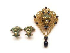 Vintage+JOMAZ+Joseph+Mazer+Jewelled+Moghul+Lion+Brooch+Pendant+and+Earrings+Set+#JOMAZ