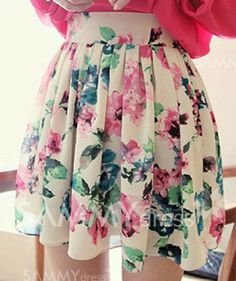 $9.11 Sweet Ruffled Floral Print Chiffon Skirt For Women