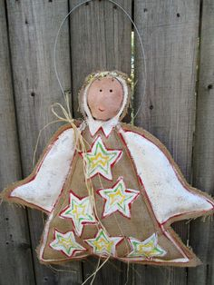 IMMEDIATE SHIPPING Christmas Angel Burlap Door by nursejeanneg, $28.00