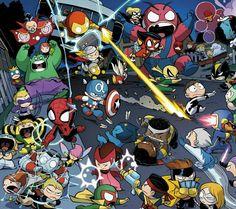 Avengers vs X-Men Babies by Skottie Young Marvel Vs Dc Comics, X Men Marvel, Chibi Marvel, Ms Marvel, Marvel Heroes, Baby Avengers, Baby Marvel, The Avengers, Skottie Young