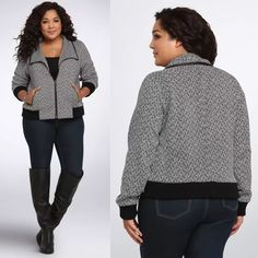 "Torrid Bomber Heavy Jacket Coat Plus Size 3X NWT Brand New With Tags! Plus Size 3 22/24 3X Retails For $74.50  What better way to bundle up than with this eye-catching black and white knit bomber jacket?   The heavier knit doesn't add bulk thanks to the ribbed details and exaggerated collar that plays up your proportions.   Faux leather trims the zip pockets and collar.   Shell: polyester/acrylic/rayon/wool/other fibers; lining: polyester/spandex  Size 1 measures 26 1/2"" from shoulder torrid…"