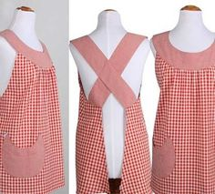 Delantales Vintage: SPICY JANE No tutorial or pattern, but, good idea. Sewing Aprons, Sewing Clothes, Diy Clothes, Aprons Vintage, Vintage Sewing, Sewing Hacks, Sewing Crafts, Sewing Projects, Cute Aprons