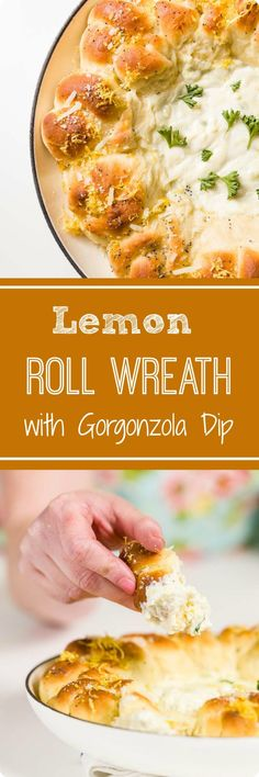Fluffy lemon yeast rolls shaped in a wreath with a hot Gorgonzola cheese dip - all baked together for a quick and easy appetizer. Quick And Easy Appetizers, Appetizers For Party, Hot Artichoke Dip, Lemon Wreath, Gorgonzola Cheese, Best Comfort Food, Comfort Foods, Yeast Rolls, Breakfast Menu