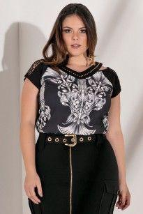 1fd8c52ea0bc2 Blusa Plus Size Sintase Black Crepes, Plus Size Summer, Summer Time, Peplum,