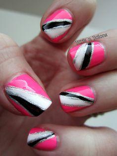 Hot pink neon nail art