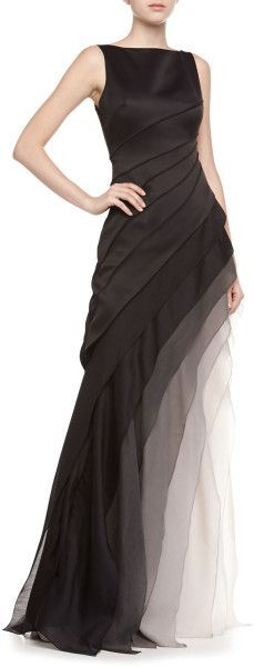 Halston Heritage Sleeveless Ombre Tiered Gown in Black (BLACK/VAPOR)        jaglady