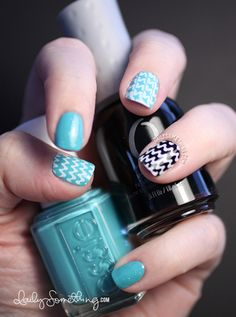 Aqua & Black Stamped Pattern Manicure