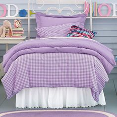 Company Kids Purple Gingham Bedding.  My Pinkalicious girl is turning Purplicious...what to do??