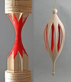 Pod ornament pair [Octagonal inside-out turning]