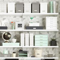 prevent unnecessary clutter — and wasted time — limit the amount of items., To prevent unnecessary clutter — and wasted time — limit the amount of items., To prevent unnecessary clutter — and wasted time — limit the amount of items. Home Office Organization, Office Storage, Organizing Your Home, Organising, Home Office Space, Home Office Design, Home Office Decor, Home Decor, Shelves Above Desk
