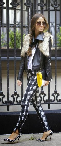 Checked Zip Jeans Faux Fur Leather Moto