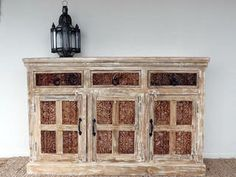 Whitewashed sideboard hand crafted in Rajasthan, India.