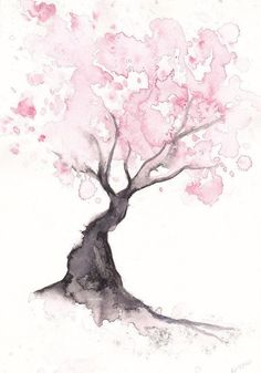 Cherry Blossom Tree Print Watercolor Painting Print Spring Tree Gift Bedroom Decor Wall Art Cherry Blossom Decor Home Wall Decor Aquarell Wasserfarben Cherry Blossom Decor, Blossom Trees, Cherry Blossoms, Watercolor Walls, Watercolor Trees, Watercolor Tattoo, Watercolor Animals, Simple Watercolor Paintings, Watercolor Techniques