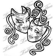 large floral theatre mask tattoos - Google Search