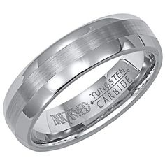 Aurora 6mm wide tungsten carbide band with satin finished inlay by ArtCarved.