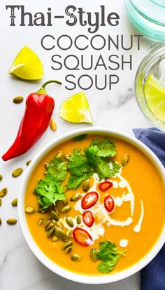 Want an easy winter squash soup recipe? This simple, creamy, vegan and gluten free blend is the best. With delicata squash, butternut, acorn and canned pumpkin, it makes a big pot of goodness to feed a crowd. Learn how to make it with Asian flair by adding coconut milk, lime, spicy red chiles, turmeric, coriander, and other spices. You'll love this healthy, hearty dinner. #squashsoup #pumpkinsoup Best Soup Recipes, Easy Healthy Recipes, Asian Recipes, Vegetarian Recipes, Dinner Recipes, Vegan Soups, Ethnic Recipes, Whole30 Recipes, Healthy Meals