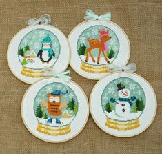 Get four cute Winter patterns: a deer, penguin, snowman, and an owl, all dressed for the cold weather inside adorable snow globes. Also get instructions on how to make the ribbon bows and add them to your embroidery hoops. This pattern arrives as an Instant Download! A few minutes after your payment is processed, youll receive a separate email with a link to download your pattern(s) immediately.  Pattern Specs: Stitch Count: 60w x 67h (each one) Design Area: 4.3 x 4.8 (14-count) or 3.8 x…