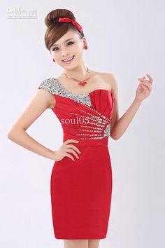 Wholesale Bridesmaid Dress - One Shoulder Beads Slim Fit Sexy Short Bridesmaid Dress Quinceanera Dress, $59.0 | DHgate