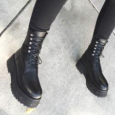 shoes platform shoes platform boots unif platform lace up boots black boots black leather black goth punk