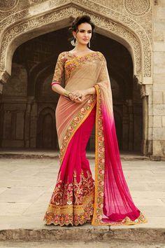 Pink Net Wedding Saree