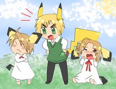 """APH - Pika by Endless-Summer181.deviantart.com on @deviantART - Oh wow...it's a Hetalia/Pokémon crossover. It doesn't get any stranger than this - but they look so cute as well. Hm...does this mean that the colonies would """"evolve"""" when they become independent, or am I thinking about this too much?"""