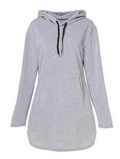 d6c2ae693c9 Fensajomon Womens Casual Solid Fleece Hoodie Pullover Hooded Sweatshirts  Dress Light Gray L Fleece Hoodie