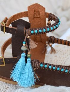 BOHO Genuine leather sandals handmade decorated with tuorquise beads and tassels You can decorate your hands, ears, neck- but also … your foot! So…