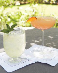 Fresh mint vodka gimlets and white peach Bellinis