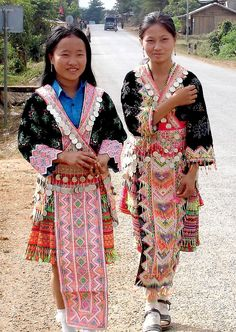 Hmong girls in traditional costumes.