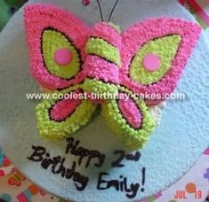 Butterfly Cake: I used a strawberry cake mix for this butterfly cake because I wanted the inside to be pink, in a 9 inch round cake pan.  After cooling I put it in the