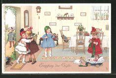 carte postale ancienne: CPA Illustrateur Lia Döring: Emfang der Gäste, gedeckter Tisch