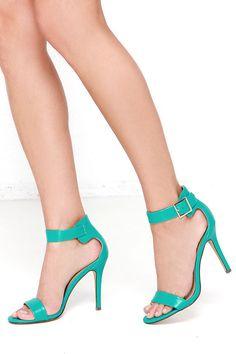Enjoy the Show Aqua Ankle Strap Heels at Lulus.com!