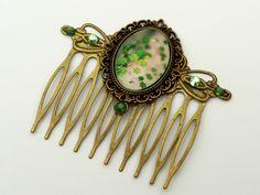 Antik Haarkamm in grün bronze mit Klee Glücksbringer Haarschmuck