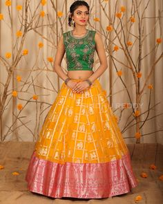 Stunning yellow and pink color combination pattu lehenga and green color designer crop top. Lehenga with elephant design. Lehenga Style, Lehenga Blouse, Half Saree Designs, Lehenga Designs, Crop Top Designs, Blouse Designs, Pink Color Combination, Kids Lehenga, Kids Gown