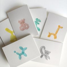 Card Design Discover Oh Hello! 10 Awesome Greeting Cards folded note printed on cotton paper paired with recycled kraft envelope blank inside. Set of 6 1 of each: Bear Bunny Dinosaur Dog Giraffe Ppt Design, Icon Design, Graphic Design, Design Cards, Design Posters, Bussiness Card, Balloon Animals, Letterpress Printing, Envelope Printing