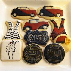 Roaring Twenties Great Gatsby cookie 30th Birthday, Birthday Ideas, Birthday Cake, Gatsby Cookies, 1920 Theme, Cupcake Cookies, Cupcakes, Burlesque Party, Food Artists