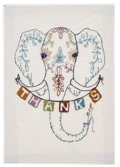 """Coral and Tusk - thanks embroidered stationery /Embroidery on 100% natural cotton, stitched to a handmade paper card. Comes with a recycled brown envelope and plastic sleeve.   Measures 5"""" x 7""""."""
