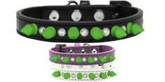 Mirage Pet Products Crystal and Neon Green Spikes Dog Collar, Size 14, Black *** Details can be found by clicking on the image. (This is an affiliate link and I receive a commission for the sales)