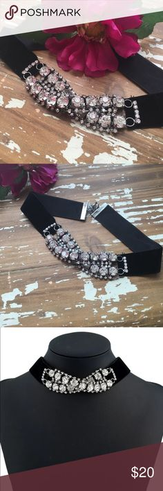 "Just In☄️Crystals & Velvet Choker ☄️ Beautiful Black velvet Choker with Crossed Crystals. 12""-15"" L Jewelry Necklaces"