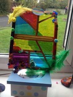 Stained glass window with acetate, card and whatever is in the junk box.