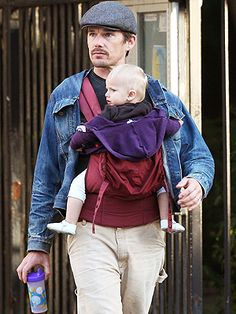 Dads use ERGObaby too! Ethan Hawke with Clementine Jane