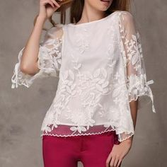 3/4-Sleeve Drawstring-Cuff Embroidered Tulle Top from #YesStyle <3 Ringnor