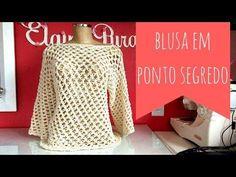 BLUSA MANGA 3/4 EM PONTO SEGREDO FÁCIL - YouTube