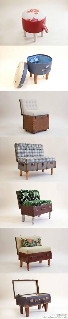 Old-fashioned suitcase transformed into a retro sofa - Eco life style with green furniture