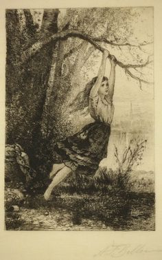 Albert Fitch Bellows / Oh, Fairest of the Rural Maids / Etching, 1882 / Etching revival / Girl / Trees / Intaglio / Printmaking / Drawing / Art / Decor
